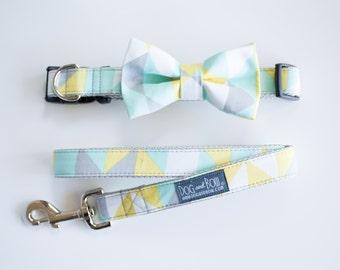 Mint Geometric Dog Bow Tie - Optional Matching Dog Collar Dog Leash