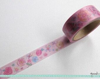 Washi Tape - Garden Rose Tape // Cute Washi Tape, Pretty Masking Tape // 5m
