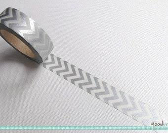 Washi Tape - Silver and White Chervon // Chervon Washi Tape, Silver Washi Tape, Washi Tape, Masking Tape // 10m