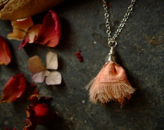 Floral necklace, pastel pink silk, flower pendant, peace silk pompom, sterling silver cap, botanical dyeing, organic jewelry, gift for her