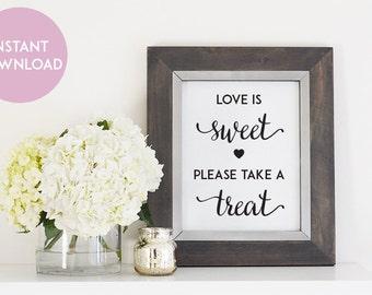Love is Sweet Teat Wedding Printable - 8 x10 Digital File - Print at Home - INSTANT DOWNLOAD