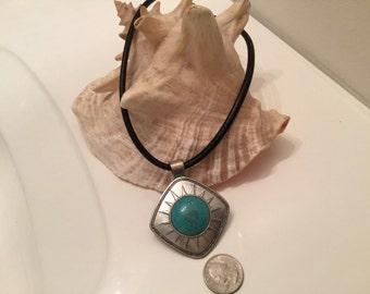 Huge faux turqoise pendant necklace