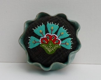 Handmade Felted Wool Teal Art Deco Floral Pincushion in a Pottery Dish