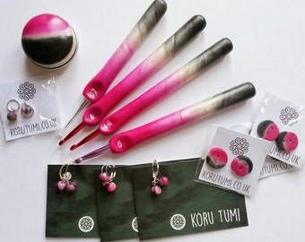Flamingo Crochet Hook. Pink. Pearl. Grey. Swirl. Stormy. Handmade. Polymer Clay