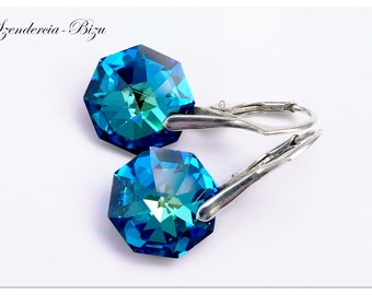 Silver earrings with Swarovski Elements Octagon 14mm Crystal Bermuda Blue