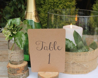 Recycled Brown Kraft Table Numbers (A5) Numbers 1 - 10