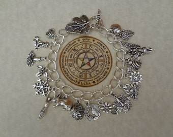 The Wheel of the Year Pagan Wiccan Charm Bracelet
