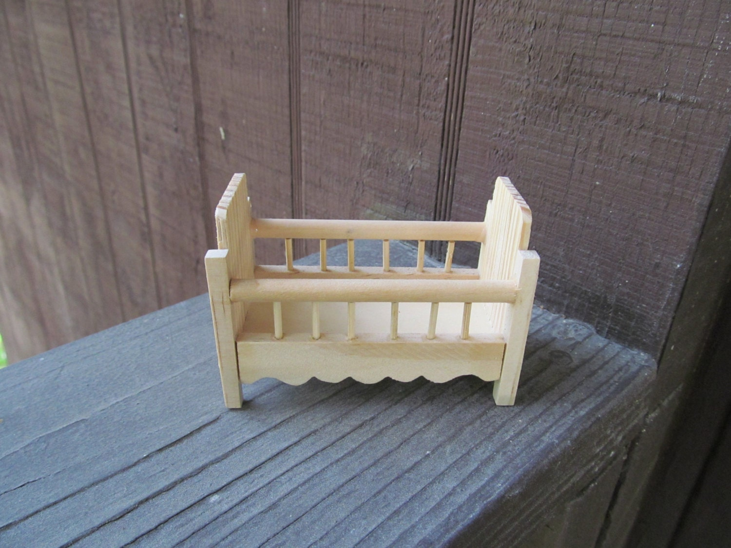 Baby cribs unfinished wood - Set Of 2 Vintage Mini Wood Cribs For Baby Shower Favors Or Doll House Set Of 2