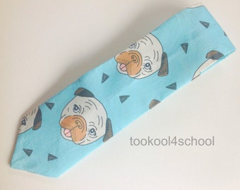 Adult pug dog fabric tie