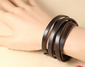 Leather Wrap Bracelet Bangle - Leather Bracelet with Antique Bronze Alloy Buckle - Men Women Leather Bracelet (ST008LB)
