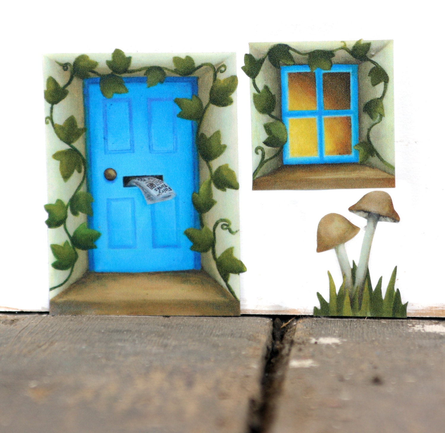 Blue fairy door sticker with ivy and mushrooms mini mural for Fairy door for wall