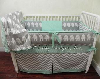 Gray & Mint Elephant Baby Bedding Set Hartley - Girl Baby Bedding, Boy Baby Bedding, Gender Neutral Baby Bedding