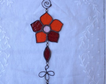 HANDMADE FLOWER MOBILE   Orange and Red Color Wall Hanging, Home and Garden Art Decor,Ethnic Stained Glass,Tiffany Glass Design,Special Gift