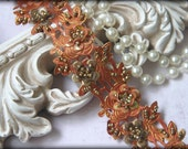 Indian Trim in Amber Orange and Burnt Gold ~ Beading and Sequins Throughout ~ 3D Flowers ~ Sari Trim ~ Crafting Trim ~ SR-009