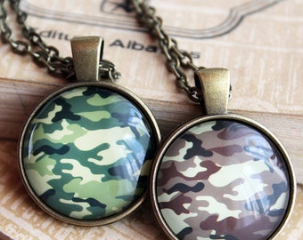 Camouflage Pendant - Green Camouflage Necklace - Desert Camo Jewelry - Military Camouflage - Pattern Pendant Necklace Jewelry