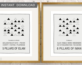 """Instant Download! Pillars of Islam and Iman, Geometric Triangles - Set of 2 Modern Islamic Reminder 8x10"""""""