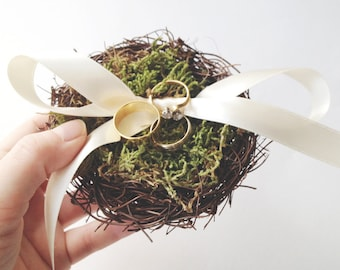 Bird Nest Ring Bearer Pillow, ring pillow alternative, woodland wedding decor, twig nest, woodland ring pillow, ring bearer pillow