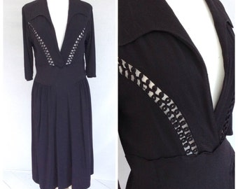 1940s Black Crepe dress, Formal, WW2, Smart, UK size 12-14, US size 10-12.