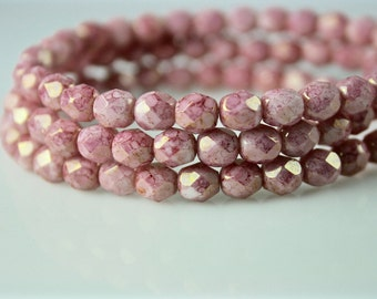 Czech glass 6mm bead faceted round fire polished pink 30 beads