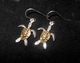 Ster Silver W/Gold Plat. Turtle Earrings