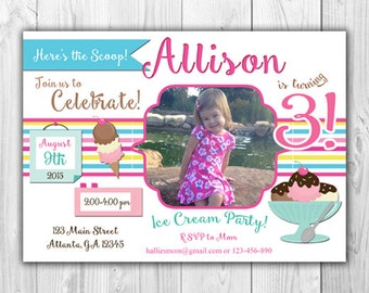 Ice Cream Birthday Party Invitation (White or Pink) - Digital File