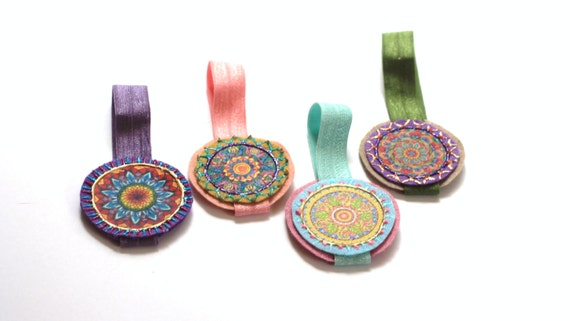 Hair Accessory Ties Bun Wraps Ponytail Elastics Womens Hair Ties, Romantic, Vintage, Mandala Design Elastic Ponytail Wraps, Hair Elastics
