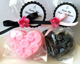 20 Pink and Black Heart Soap Favors, Baby Shower Favors, Bridal Shower Favors, Wedding Favors, Cottage Chic Favors, Soap Favors, Party Favor