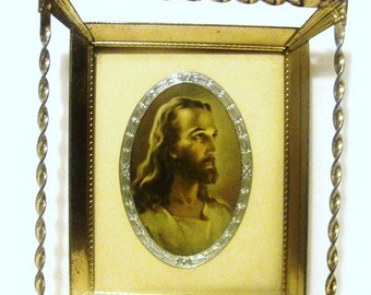 Warner E Sallmans The Head Of Christ,  Very Nice Small Lithograph inQuality Metal Frame