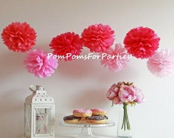 Mixed sizes 50 (10L/30M/10S) Pom Poms - Pompoms - Hanging poms - Paper flower - Tissue paper balls - Tissue paper pom poms - Tissue flowers