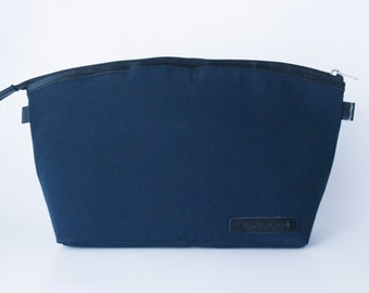 Dslr Camera bag insert in waxed canvas and leather trimming - Padded divider - blue and black