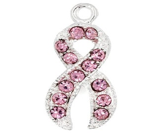 28x12mm Ribbon Awareness Pendant Pink Rhinestone P9952 Sold Per Piece
