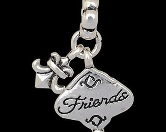 European Dangle, Charm Bead For All Large Hole Charm Bracelet And Necklace Chain. Friends.15x30mm