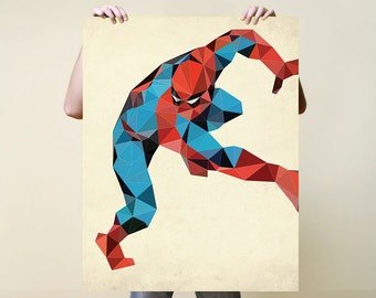 Spiderman, Print, Nursery, Baby, Gift, Poster, Illustration, Art, Painting, Watercolour, Poly, DC Comics, Marvel Comics, Superheroes