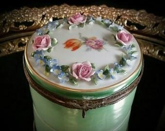 Dresden Germany Powder Jar Powder Dish Ormolu Porcelain Jewelry Box Trinket Box Holder