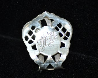 "Sterling Napkin Clip, Ring, Vintage Silver Napkin clip, Hand engraved ""MD""..I think, napkin holder, Fabulous Gift Idea  #184"