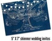 Rustic Outdoor Tree & Lights Wedding Invitations 8.5 X 5.5 printed full color both sides (photo optional) - Qty. 100