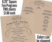 Qty. 50 Fan Square Wedding Program - TWO sheets of Shimmer Quartz (white) cardstock printed one side each