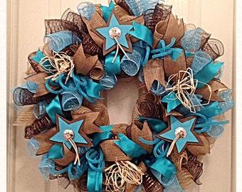 Southwestern Turquoise Burlap Star Deco Mesh Wreath/Cowboy Cowgirl Wreath/Burlap Wreath/Turquoise Wreath