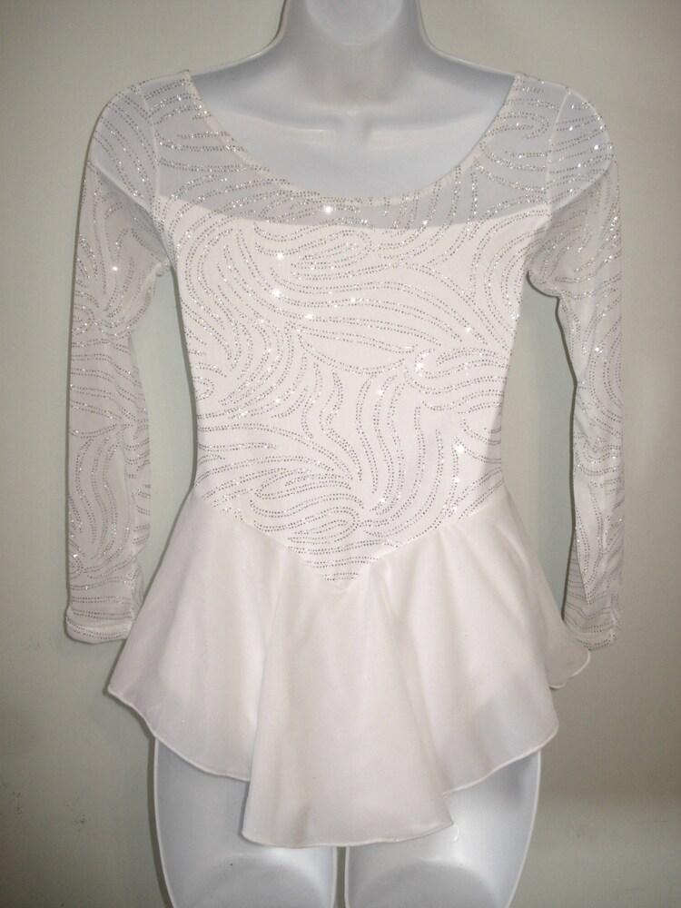 Figure Skating Dress White Chiffon W Silver Glitter By
