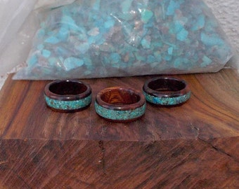Handmade Recycled Ironwood with Turquoise Inlay Ring
