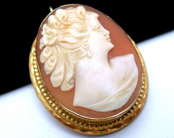 Vintage Carved Shell Cameo Brooch Pendant 12k Gold Filled