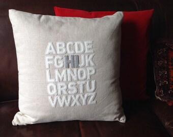 """Alphabet Type Design Pillow handmade from cotton and felt. 21"""" x 21"""""""