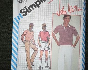 UNCUT 80s Men's clothing pattern Simplicity 6012 pants, shorts, top 32 waist