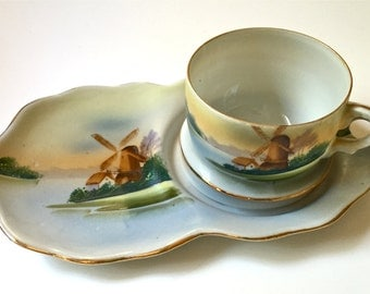 Exquisite Hand Painted Teacup and Saucer Windmill Scene