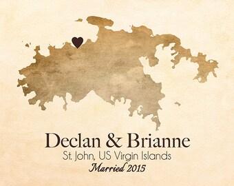 US Virgin Islands, St. John, USVI, Wedding, Honeymoon, Gift Ideas, Travel Map, Anniversary, Elopement, Beach Wedding, Cruise Engagement Gift
