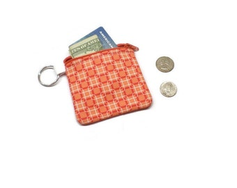 Coral geometric fabric zippered coin pouch, change bag, card purse.  Under 15 gift.