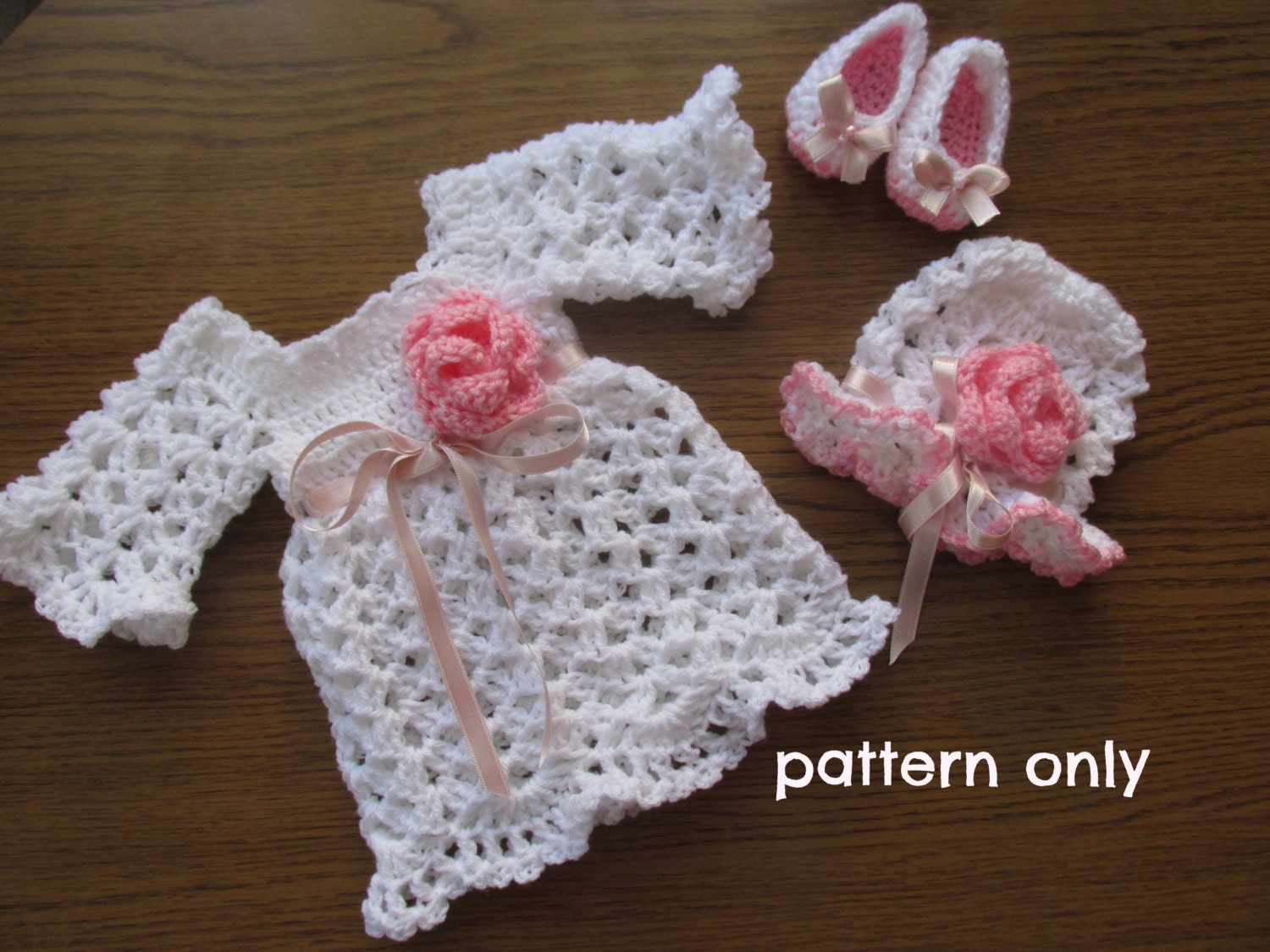 Crochet Baby Outfit Patterns : Crochet pattern 3patterns in one Baby Dress Crochet Baby Dress
