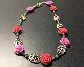 Rose and Leopard Necklace