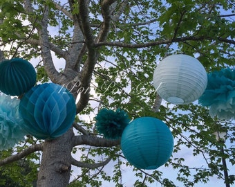 OCEANA // 8 Tissue Paper Poms Poms/Paper Lanterns / wedding decorations / Birthday decor / nursery / baby shower