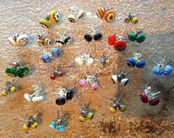 Beautiful Italian Millefiori earrings in many different colors, handmade by HenaoGlass. One pair 7 dollars